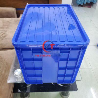 Thùng Nhựa Đặc HS026 (Sóng Bít 3T9) Có Nắp Kín