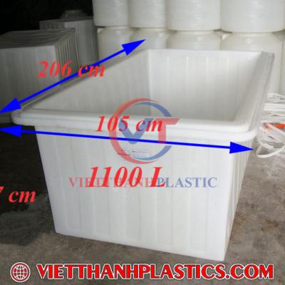 Thùng Nhựa Chữ Nhật 1100L Dệt Nhuộm Vải