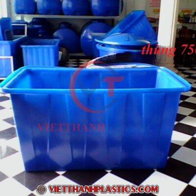 Thùng Nhựa Chữ Nhật 750L Dệt Nhuộm Vải